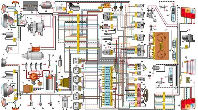 Электросхема автомобиля ВАЗ-